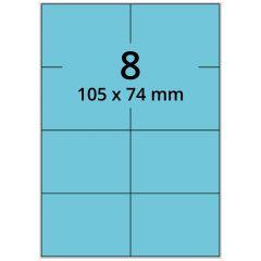 LASER Etiketten, DIN A4 Bogen, Papier, permanent, matt, blau, 105 x 74 mm, 100 Blatt, 800 Etikett(en)