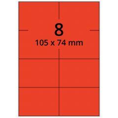LASER Etiketten, DIN A4 Bogen, Papier, permanent, matt, rot, 105 x 74 mm, 100 Blatt, 800 Etikett(en)