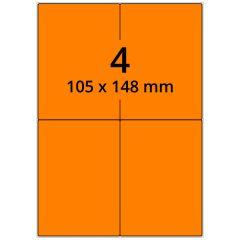 Laser Etiketten, DIN A4 Bogen, Papier, leucht orange, permanent klebend, matt, 105 x 148 mm, 400 Etikett(en) auf 100 Blatt