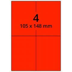 sw/fbg Laser Etiketten, DIN A4 Bogen, Papier, leucht rot, permanent klebend, matt, 105 x 148 mm, 400 Etikett(en) auf 100 Blatt
