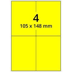 sw/fbg Laser Etiketten, DIN A4 Bogen, Papier, leuchtgelb, permanent klebend, matt, 105 x 148 mm, 400 Etikett(en) auf 100 Blatt