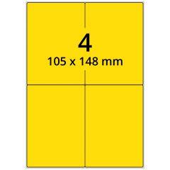 LASER Etiketten, DIN A4 Bogen, Papier, ablösbar, matt, gelb, 105 x 148 mm, 100 Blatt, 400 Etikett(en)