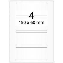 LASER Etiketten, DIN A4 Bogen, Papier, permanent, matt, weiß (blickdicht), 150 x 60 mm, 100 Blatt, 400 Etikett(en)
