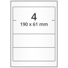 LASER Etiketten, DIN A4 Bogen, Papier, ablösbar, matt, weiß, unbes., 190 x 61 mm, 100 Blatt, 400 Etikett(en)