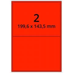 sw/fbg Laser Etiketten, DIN A4 Bogen, Papier, leucht rot, permanent klebend, matt, 199,6 x 143,5 mm, 200 Etikett(en) auf 100 Blatt