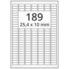 LASER Etiketten, DIN A4 Bogen, Papier, permanent, weiß, unbes., 25,4 x 10 mm, 500 Blatt, 94500 Etikett(en), Nachfolgeartikel von EB025X010PPWE