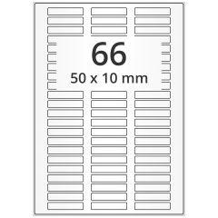 LASER Etiketten, DIN A4 Bogen, Papier, permanent, matt, weiß, unbes., 50 x 10 mm, 500 Blatt, 33000 Etikett(en)