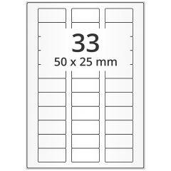 LASER Etiketten, DIN A4 Bogen, Papier, permanent, matt, weiß, unbes., 50 x 25 mm, 500 Blatt, 16500 Etikett(en)
