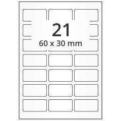 LASER Etiketten, DIN A4 Bogen, Papier, permanent, matt, weiß, unbes., 60 x 30 mm, 500 Blatt, 10500 Etikett(en)