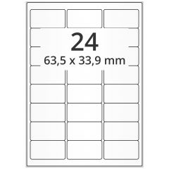LASER Etiketten, DIN A4 Bogen, Papier, permanent, matt, weiß, unbes., 63,5 x 33,9 mm, 500 Blatt, 12000 Etikett(en)