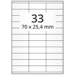 LASER Etiketten, DIN A4 Bogen, Papier, permanent, matt, weiß, unbes., 70 x 25,4 mm, 500 Blatt, 16500 Etikett(en)