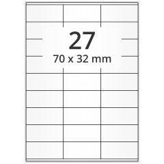 LASER Etiketten, DIN A4 Bogen, Papier, permanent, matt, weiß, unbes., 70 x 32 mm, 500 Blatt, 13500 Etikett(en)