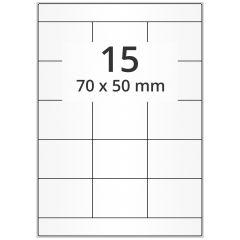 LASER Etiketten, DIN A4 Bogen, Papier, permanent, matt, weiß, unbes., 70 x 50 mm, 500 Blatt, 7500 Etikett(en)