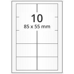 LASER Etiketten, DIN A4 Bogen, Papier, permanent, matt, weiß, unbes., 85 x 55 mm, 500 Blatt, 5000 Etikett(en)