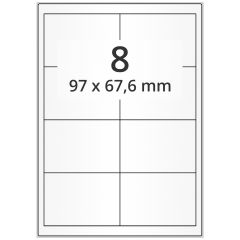 LASER Etiketten, DIN A4 Bogen, Papier, permanent, matt, weiß, unbes., 97 x 67,6 mm, 500 Blatt, 4000 Etikett(en)