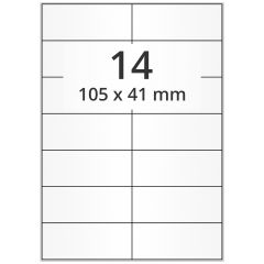 LASER Etiketten, DIN A4 Bogen, Papier, permanent, matt, weiß, unbes., 105 x 41 mm, 500 Blatt, 7000 Etikett(en)