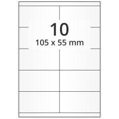 LASER Etiketten, DIN A4 Bogen, Papier, permanent, matt, weiß, unbes., 105 x 55 mm, 500 Blatt, 5000 Etikett(en)