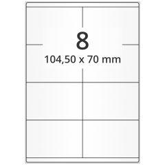 LASER Etiketten, DIN A4 Bogen, Papier, permanent, matt, weiß, unbes., 104,50 x 70 mm, 500 Blatt, 4000 Etikett(en)