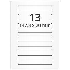 LASER Etiketten, DIN A4 Bogen, Papier, permanent, matt, weiß, unbes., 147,3 x 20 mm, 500 Blatt, 6500 Etikett(en)