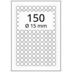 LASER Etiketten, DIN A4 Bogen, Papier, permanent, weiß, unbes., Ø 15 mm, 500 Blatt, 75000 Etikett(en), Nachfolgeartikel von EB015PPWE
