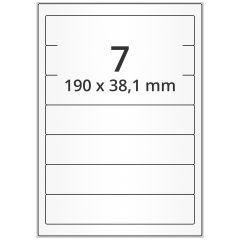 LASER Etiketten, DIN A4 Bogen, Papier, permanent, matt, weiß, unbes., 190 x 38,1 mm, 500 Blatt, 3500 Etikett(en)