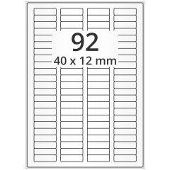LASER Etiketten, DIN A4 Bogen, Polyester Folie, permanent, matt, transparent, 40 x 12 mm, 100 Blatt, 9200 Etikett(en)