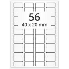 LASER Etiketten, DIN A4 Bogen, Polyester Folie, permanent, matt, transparent, 40 x 20 mm, 100 Blatt, 5600 Etikett(en)