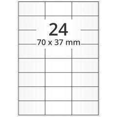 LASER Etiketten, DIN A4 Bogen, Polyester Folie, permanent, matt, transparent, 70 x 37 mm, 100 Blatt, 2400 Etikett(en)