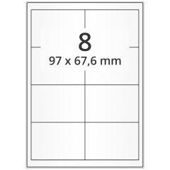 LASER Etiketten, DIN A4 Bogen, Polyester Folie, permanent, matt, transparent, 97 x 67,6 mm, 100 Blatt, 800 Etikett(en)