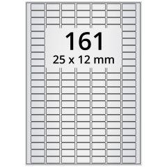 LASER Etiketten, DIN A4 Bogen, Polyester Folie (Checkerboard), permanent, matt, silber, bes., 25 x 12 mm, 100 Blatt, 16100 Etikett(en)