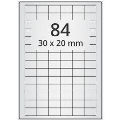 LASER Etiketten, DIN A4 Bogen, Polyester Folie (Checkerboard), permanent, matt, silber, bes., 30 x 20 mm, 100 Blatt, 8400 Etikett(en)