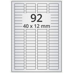 LASER Etiketten, DIN A4 Bogen, Polyester Folie (Checkerboard), permanent, matt, silber, bes., 40 x 12 mm, 100 Blatt, 9200 Etikett(en)