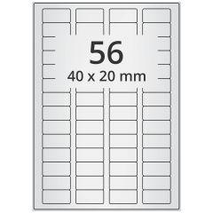 LASER Etiketten, DIN A4 Bogen, Polyester Folie (Checkerboard), permanent, matt, silber, bes., 40 x 20 mm, 100 Blatt, 5600 Etikett(en)