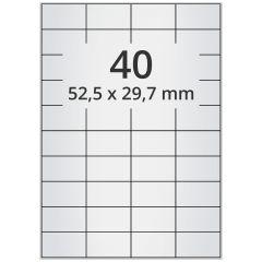 LASER Etiketten, DIN A4 Bogen, Polyester Folie (Checkerboard), permanent, matt, silber, bes., 52,5 x 29,7 mm, 100 Blatt, 4000 Etikett(en)