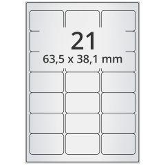 LASER Etiketten, DIN A4 Bogen, Polyester Folie (Checkerboard), permanent, matt, silber, bes., 63,5 x 38,1 mm, 100 Blatt, 2100 Etikett(en)