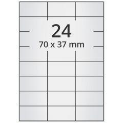 LASER Etiketten, DIN A4 Bogen, Polyester Folie (Checkerboard), permanent, matt, silber, bes., 70 x 37 mm, 100 Blatt, 2400 Etikett(en)
