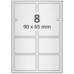 LASER Etiketten, DIN A4 Bogen, Polyester Folie (Checkerboard), permanent, matt, silber, bes., 90 x 65 mm, 100 Blatt, 800 Etikett(en)