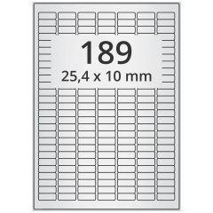 laser labels, A4 sheet, polyester foil, permanent, matte, silver, 25.4 x 10 mm, 18900 label(s) on 100 sheet(s)