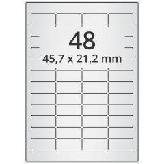 LASER Etiketten, DIN A4 Bogen, Polyester Folie, permanent, matt, silber, 45,7 x 21,2 mm, 100 Blatt, 4800 Etikett(en)