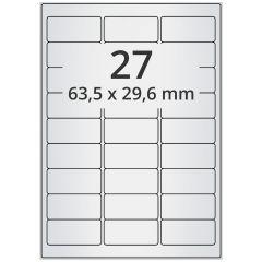 laser labels, A4 sheet, polyester foil, permanent, matte, silver, 63.5 x 29.6 mm, 2700 label(s) on 100 sheet(s)