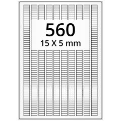 laser labels, A4 sheet, polyester foil, permanent, matte, white, 15 x 5 mm, 56000 label(s) on 100 sheet(s)