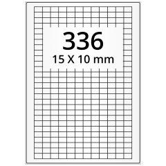 LASER Etiketten, DIN A4 Bogen, Polyester Folie, permanent, matt, weiß, 15 x 10 mm, 100 Blatt, 33600 Etikett(en)