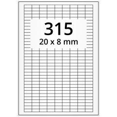 laser labels, A4 sheet, polyester foil, permanent, matte, white, 20 x 8 mm, 31500 label(s) on 100 sheet(s)