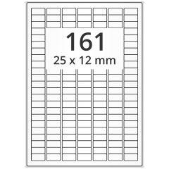 LASER Etiketten, DIN A4 Bogen, Polyester Folie, permanent, matt, weiß, 25 x 12 mm, 100 Blatt, 16100 Etikett(en)