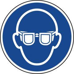 Augenschutz tragen, Gebotszeichen, M004, ASR A1.3, DIN EN ISO 7010, Polypropylen, blau - weiß, Ø 100 mm
