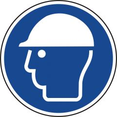 Schutzhelm benutzen, Gebotszeichen, M014, ASR A1.3, DIN EN ISO 7010, Polypropylen, blau - weiß, Ø 50 mm