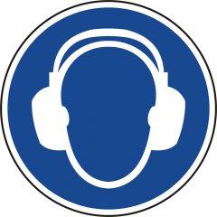 Gehörschutz tragen, Gebotszeichen, M003, ASR A1.3, DIN EN ISO 7010, Polypropylen, blau - weiß, Ø 100 mm