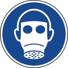 Atemschutz benutzen, Gebotszeichen, M017, ASR A1.3, DIN EN ISO 7010, Polypropylen, blau - weiß, Ø 200 mm