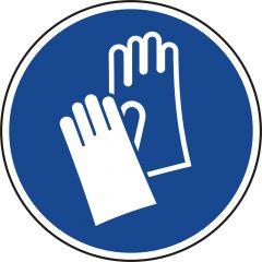 wear safety gloves, mandatory sign, M009, ASR A1.3, DIN EN ISO 7010, polypropylene, blue - white, Ø 100 mm