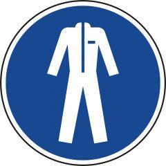 Schutzkleidung benutzen, Gebotszeichen, M010, ASR A1.3, DIN EN ISO 7010, Polypropylen, blau - weiß, Ø 100 mm